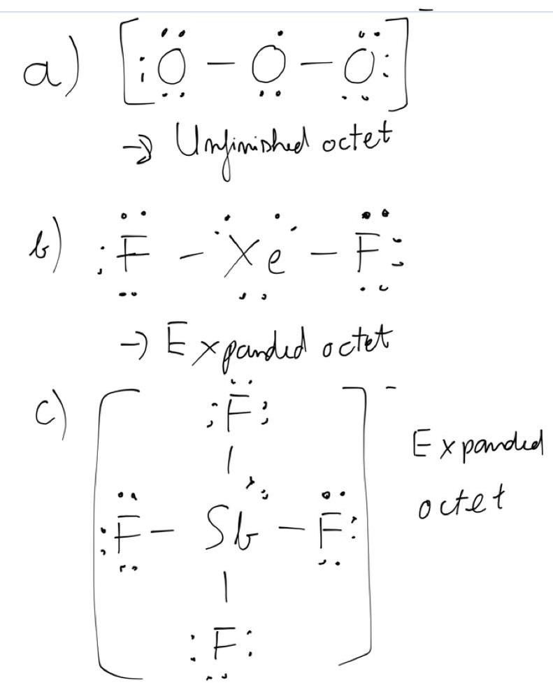 These Species Do Not Obey The Octet Rule Draw A Lewis Structure For Each And State The Type Of Octet Rule Exception A O3 B Xef2 C Sbf4 Homework Help And Answers