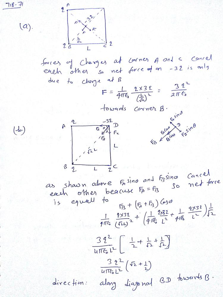 Three Identical Point Charges Q Are Placed At Each Of Three Corners Of A  Square Of Side L. Find The Magnitude And Direction Of The Net Force On A  Point Charge -3q