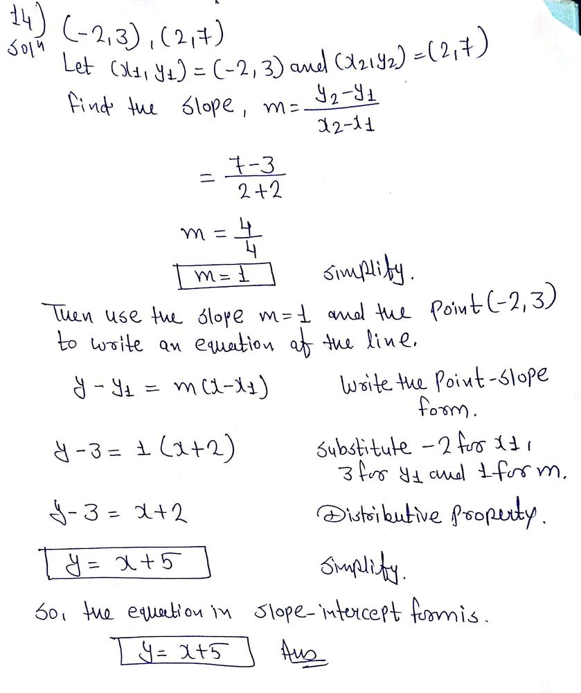 slope intercept form big ideas math  Write in slope-intercept form an equation of the line that ...