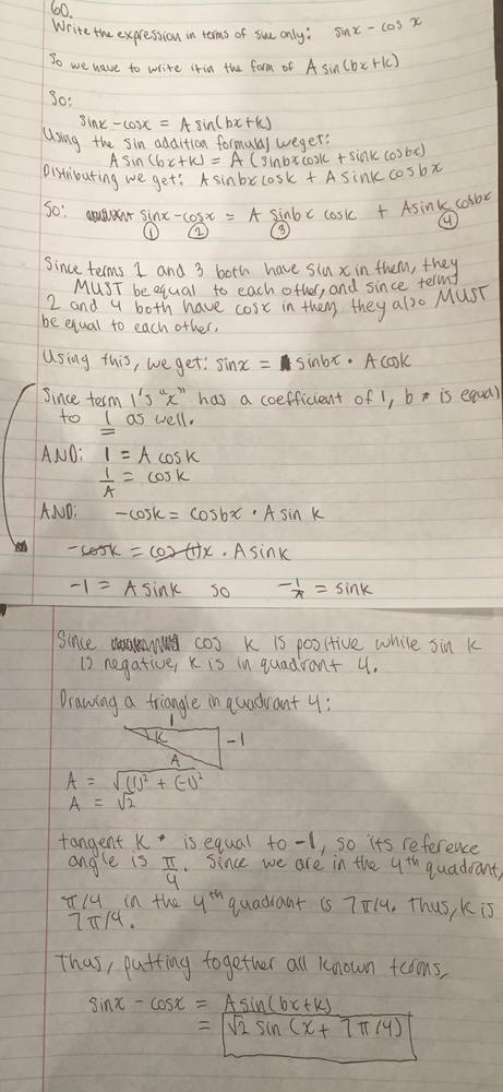 Write The Expression In Terms Of Sine Only. Sin X - Cos X :: Homework Help  And Answers :: Slader