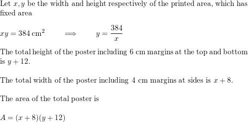 The top and bottom margins of a poster are each 6 cm and the