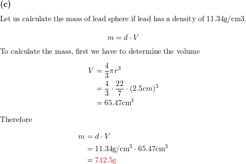 A Spherical Ball Of Lead Has A Diameter Of 5 0 Cm What Is The Mass Of The Sphere If Lead Has A Density Of 11 34 G Cm 3 The Volume Of A Sphere Convert from centimetres to inches. a spherical ball of lead has a diameter